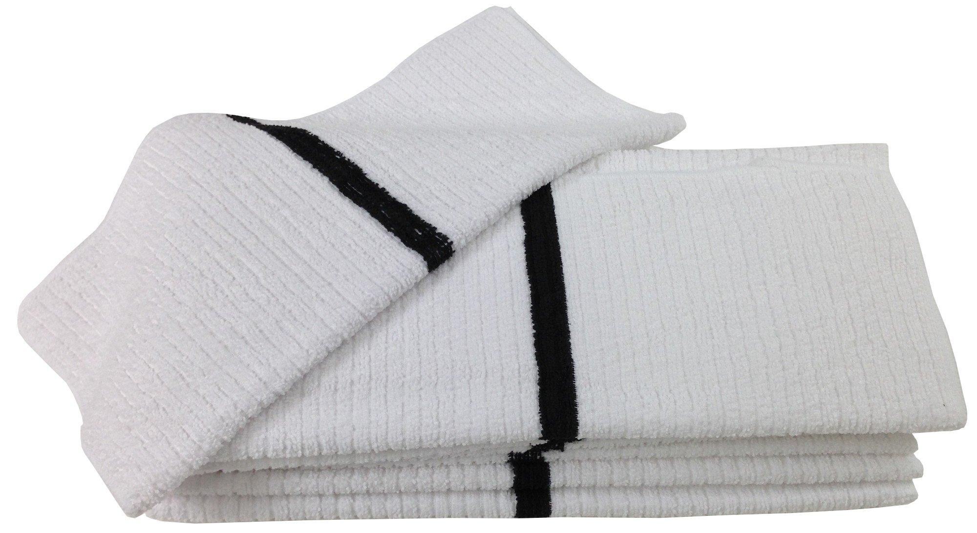 Nouvelle Legende 14 X 18in Ribbed Bar Mop Microfiber Towels (12 Pack) Black Stripe
