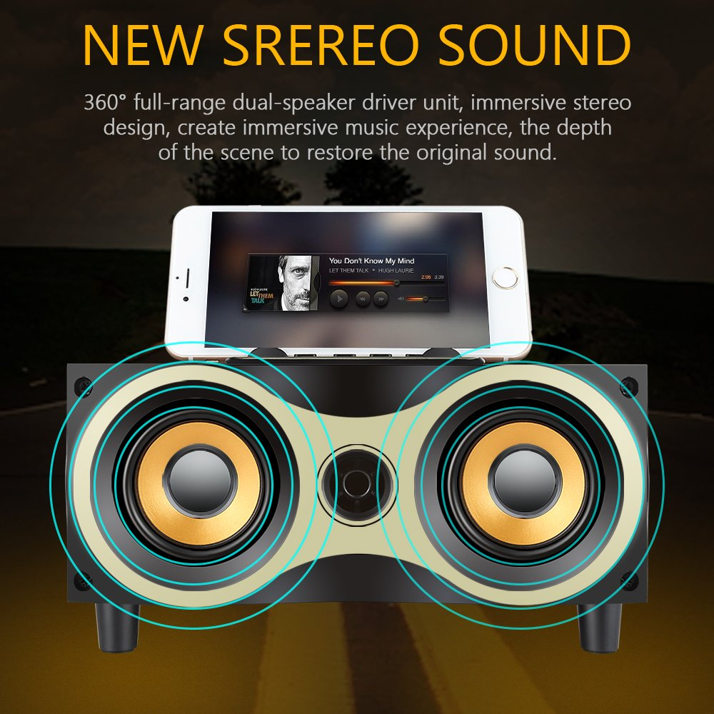 Desktop Portable Wooden Wireless Speaker Subwoofer Stero Bluetooth Speakers Support TF MP3 Player with FM Radio, Phone Holder for iPhone Android by Sysmarts (Image #8)