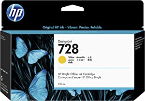 HP 728 Yellow 130-ml Genuine Ink Cartridge (F9J65A) for DesignJet T830 MFP & T730 Large Format Plotter Printers