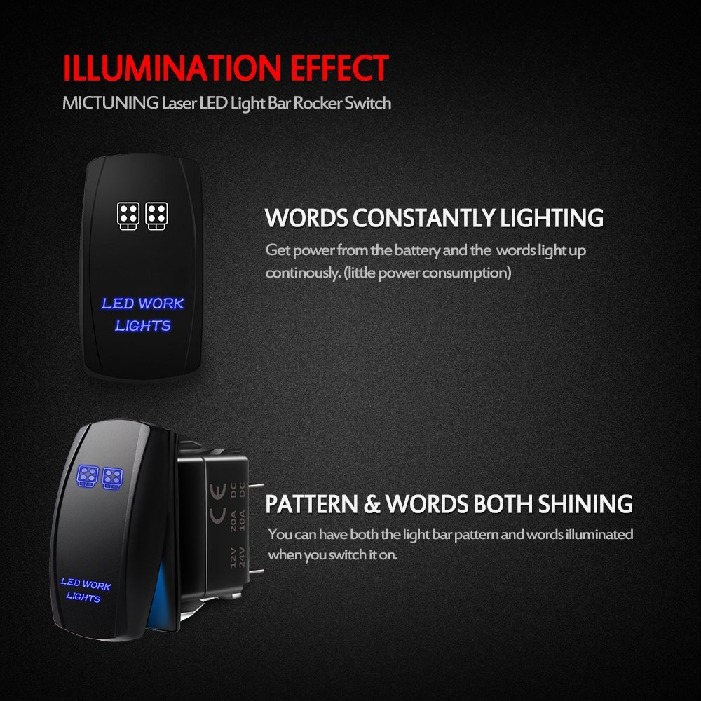 MicTuning MIC-LSL1 5Pin Rocker Switch On-Off Led Light 20A 12V Blue Led Work Lights