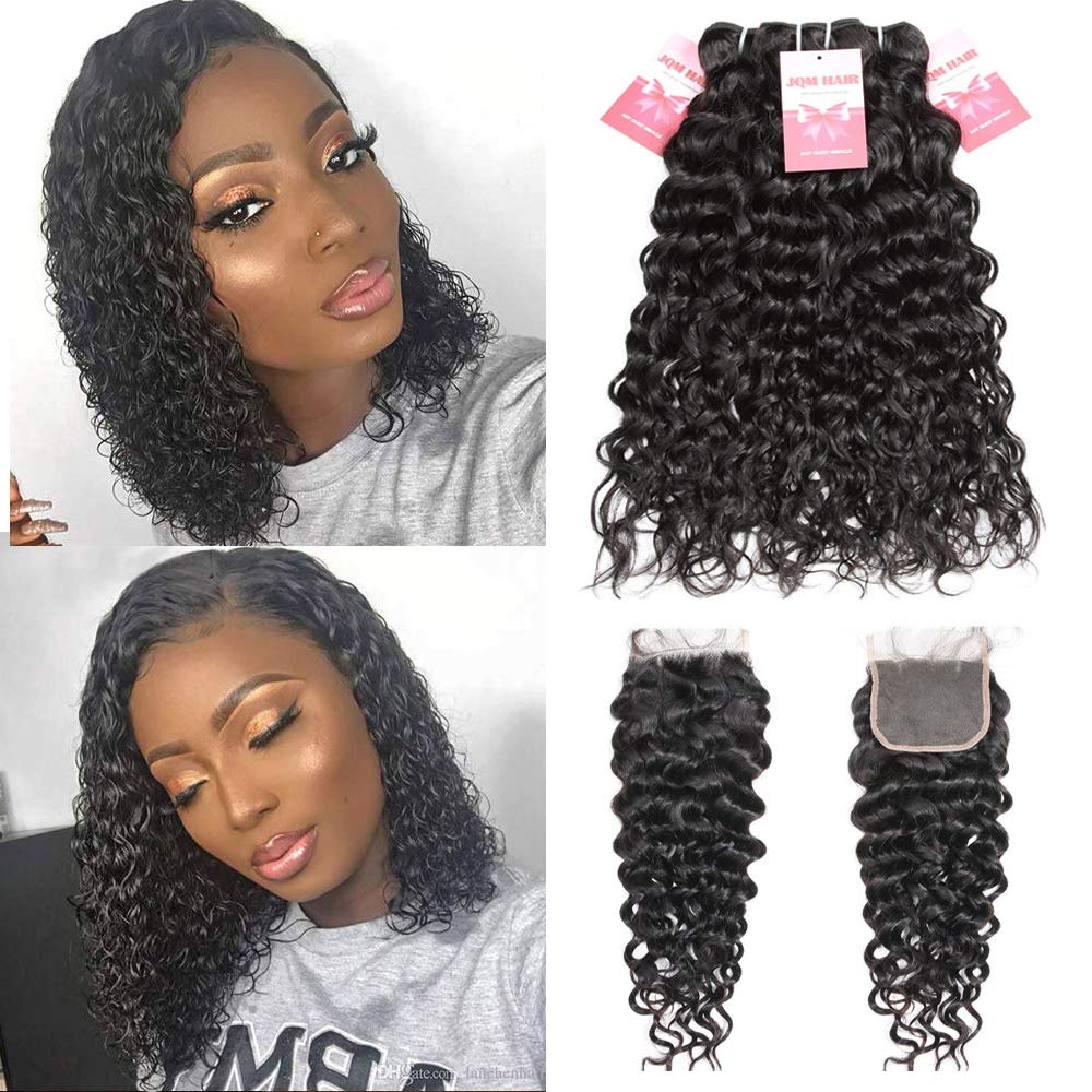 Premium Brazilian Water Wave Bundles With Closure Wet and Wavy Short Curly Bob Human Hair Bundles With Closure Free Part (10/10/10/10+8 Inch) by JQM
