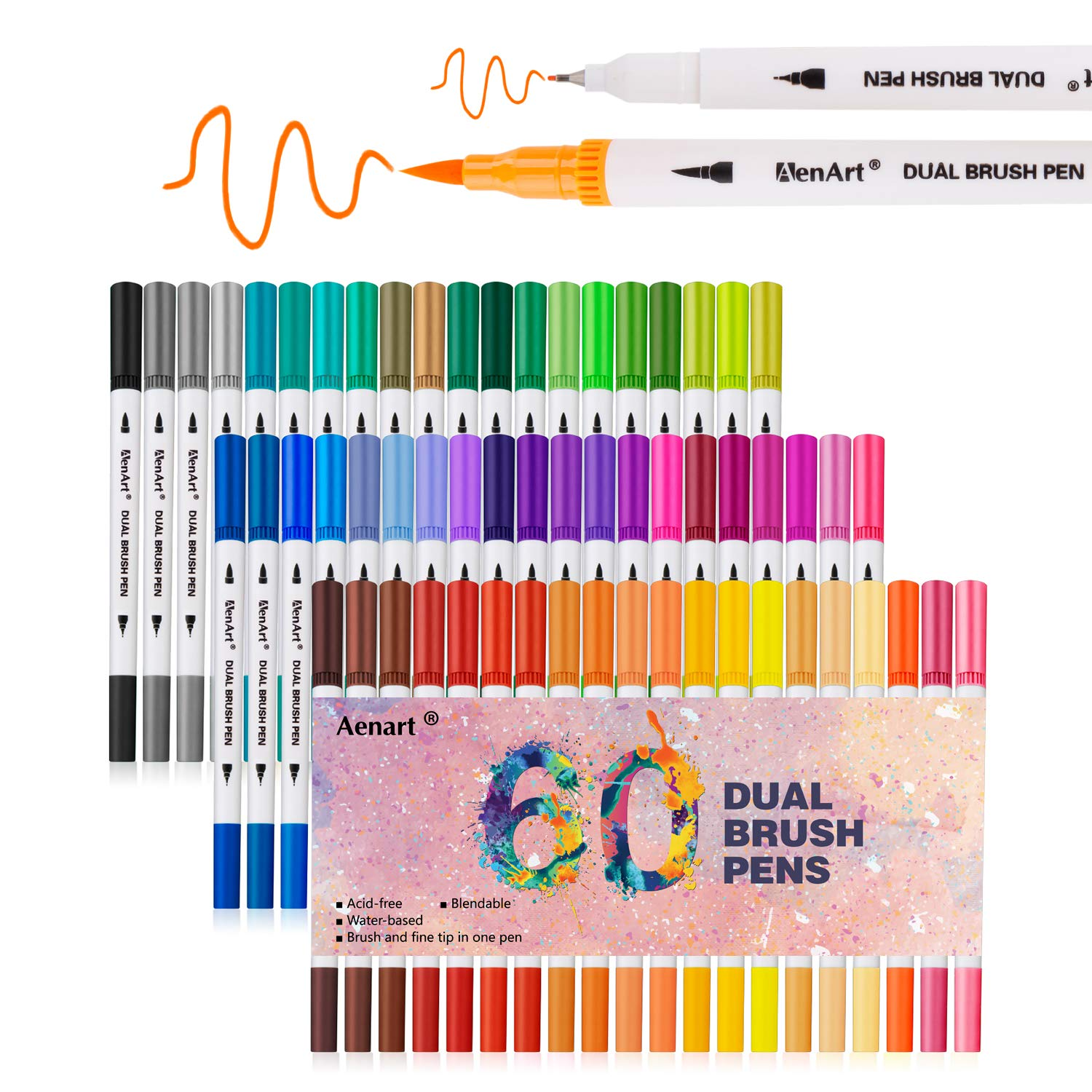 Dual Tip Brush Markers Pen 60 Colors, Fine and Brush Tip Colored Dual Pens for Coloring Books, Drawing, Bullet Journal, Planner, School Art Projects Mdk-DP