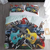 3D Print Bedding Full Size, Music Duvet Cover 3 Piece - Collage of Music Color and Musical Instruments Street Wall Art Joyful Nostalgia Print, Multicolor