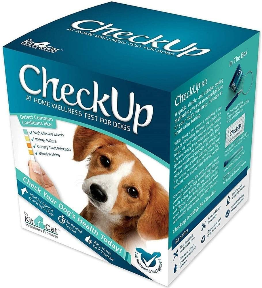 KIT4CAT CheckUp Kit at Home Wellness Test for Dogs, Telescopic Pole & Cup for Urine Collection & Test Strips for Detection of Diabetes, Kidney Conditions, UTI, Blood in Urine