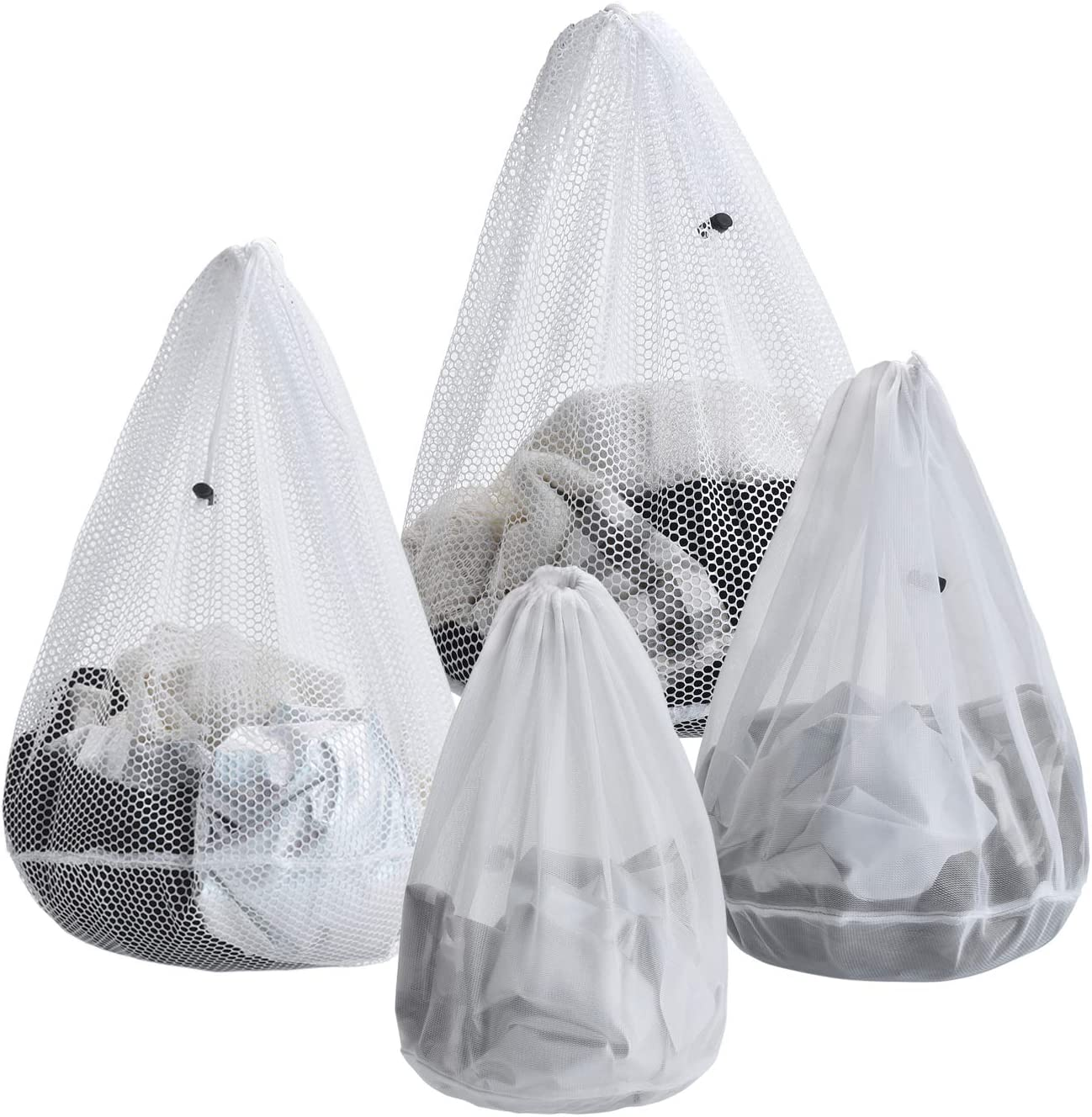 ARZASGO Mesh Laundry Bags, 4 Pack Heavy Duty Drawstring Laundry Washing Bags for Delicates, Garments, Lingerie, Socks, Bras and Baby Clothes (Coarse&Fine Mesh)