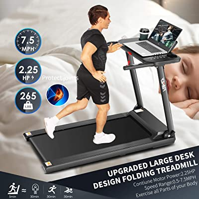 Sports & Outdoors Folding Treadmills with Desk and Bluetooth ...