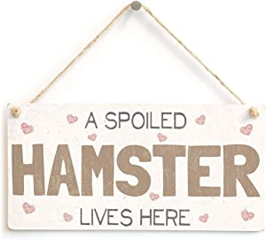 """Meijiafei A Spoiled Hamster Lives Here - Pretty Shabby Chic Style PVC Sign/Plaque 10""""x5"""""""