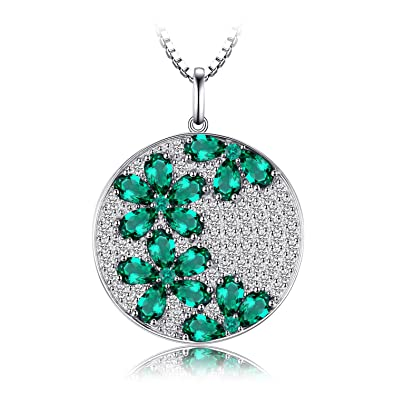 JewelryPalace 2.7ct Simulated Green Nano Russian Emerald Pendants Necklaces 925 Sterling Silver 18 Inches IFLW5iVwr9