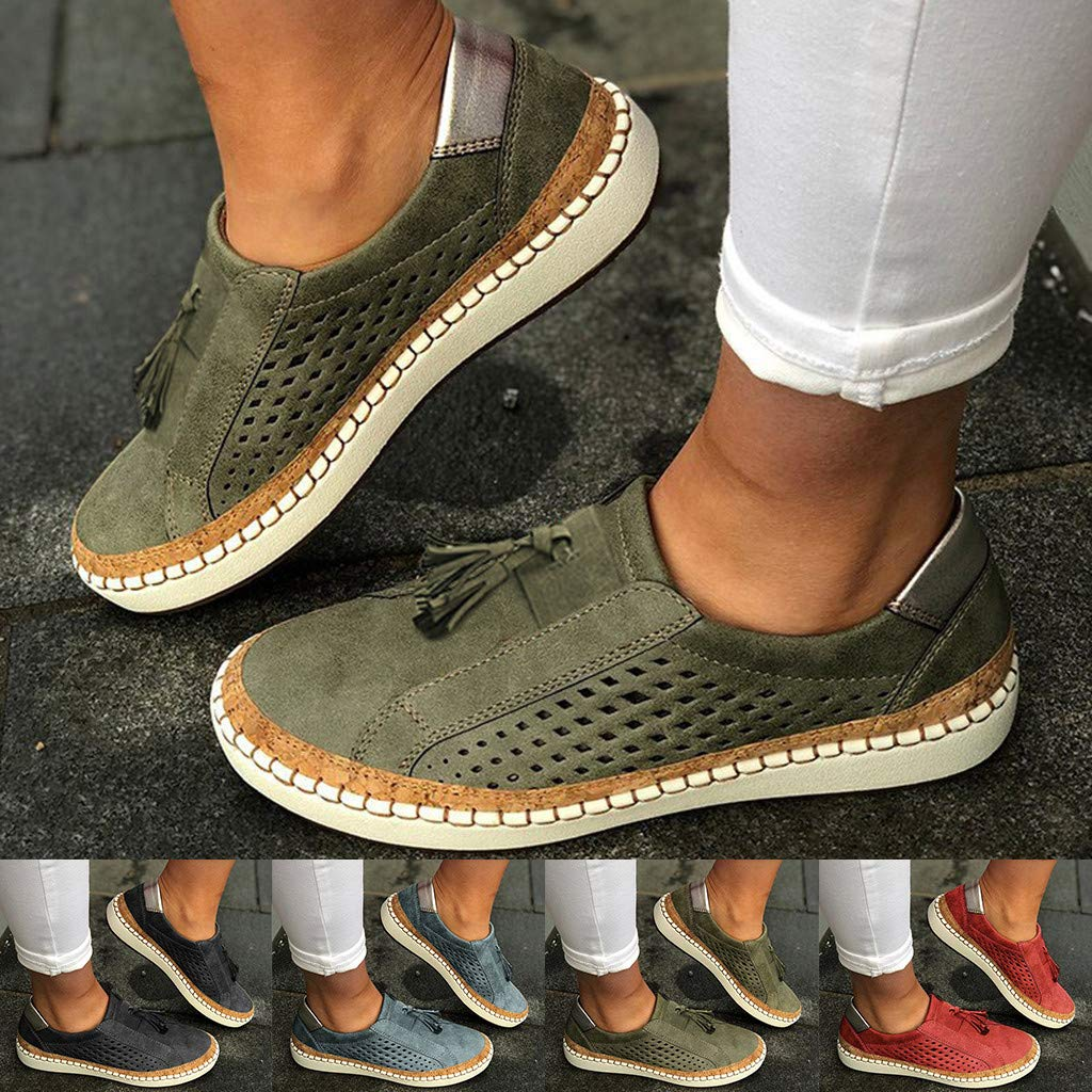 Womens Classic Slip-on Loafers Casual Round Toe Suede Platform Shoes Fashion Hollow Out Fringe Comfy Sneakers Shoe US:9.5// CN:42, Blue