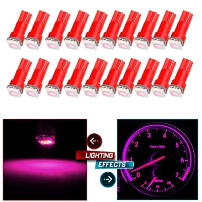 cciyu 20 Pack T5 73 74 Dashboard Gauge 5050SMD LED Wedge Light Bulb Fits 2005-2007 GMC Sierra 1500 1500 HD Yukon Yukon XL 1500 Sierra 1500 1500 HD 2500 HD 3500 (20pack pink): Automotive