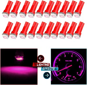 cciyu 20pcs T5 Wedge 5050 1SMD Pink LED Dash Instrument Panel Light 74 86 37 70 2721 Replacement fit for Dashboard instrument Panel Light Bulbs LED Lamps
