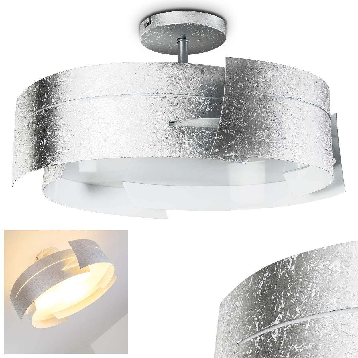 Novara Deckenleuchte in Silber - Deckenlampe modern im Wellen-Design - 3 x E27 - Designer-Leuchte für das Esszimmer - Küchen Lampe - Metall-Deckenlampe mit Lampenschirm aus Glas - LED-geeignet
