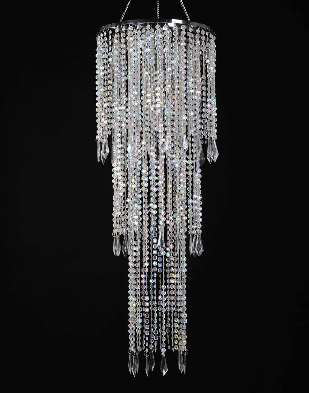 FlavorThings Sparkling Iridescent Acrylic Beaded Hanging Chandelier (W10.25