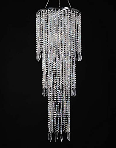 FlavorThings Sparkling Iridescent Acrylic Beaded Hanging Chandelier W10.25″H30 3 Tiers Beads Pendant Shade