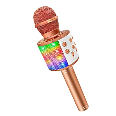 Bluetooth Microphone for Karaoke Kids, Gifts Toys for 4-12 Year Old Girls Karaoke Microphone for Kids with LED Lights Champagne Gold: Musical Instruments