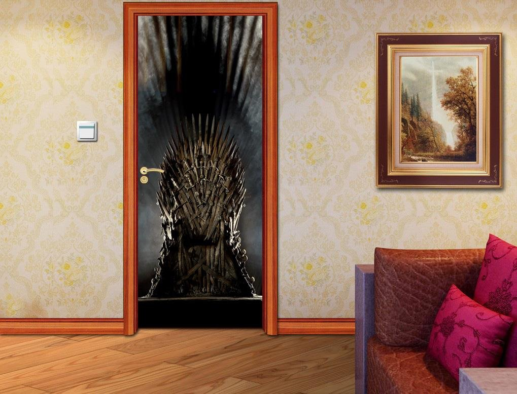 Iron Throne Game Of Thrones DOOR WRAP Decal Sticker Wall Personalized NAME D45