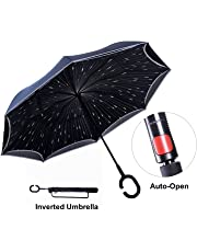 Inverted Umbrella with Light Reflection Strip, Double Layer Car Reverse Umbrella,Travel Ease Auto-Open Self-Standing Umbrella with C-Shape Handle Plus Carrying Bag for Free Hands