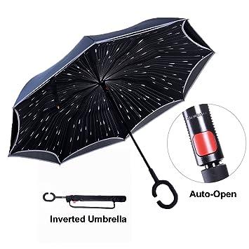 Paraguas Invertido con Tira Reflectora de Luz, Paraguas Reversible ...