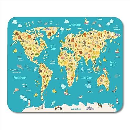 Almohadillas para mouse Mapa de animales para niños Mundo Infantil ...
