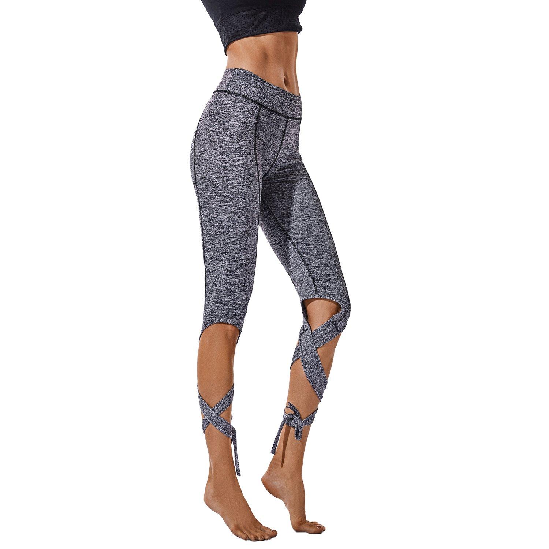 b428abd055 Ballet Bandage Yoga Pants High Waist Lace up Sport Leggings Fitness Cross  Tight at Amazon Women's Clothing store:
