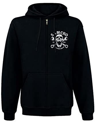 d7294117553 Sons of Anarchy SAMCRO Reaper Crew 1967 Zipped Hooded Jacket black - Black  - Small  Amazon.co.uk  Clothing