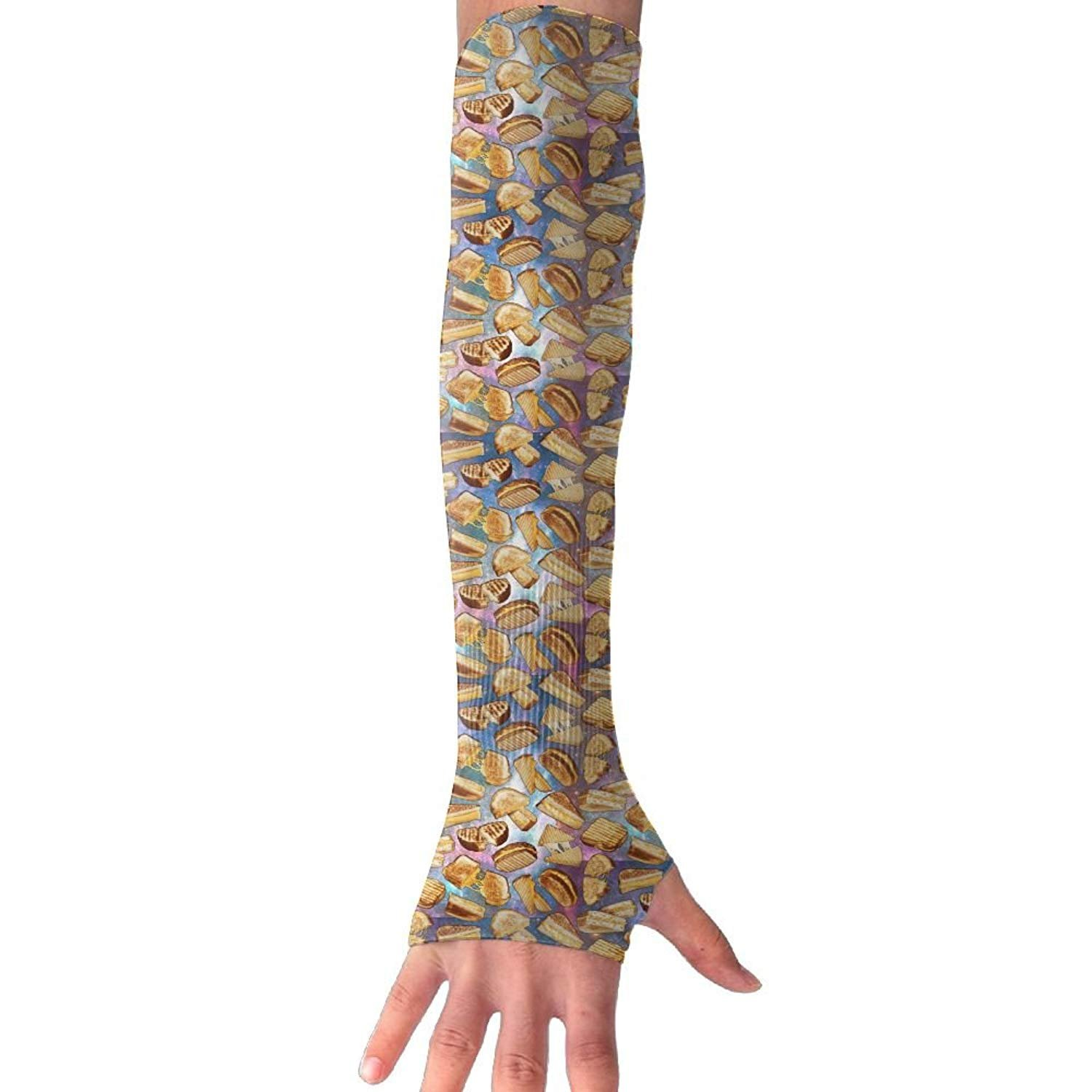 Unisex Galaxy Cheese Cookie Sunscreen Outdoor Travel Arm Warmer Long Sleeves Glove