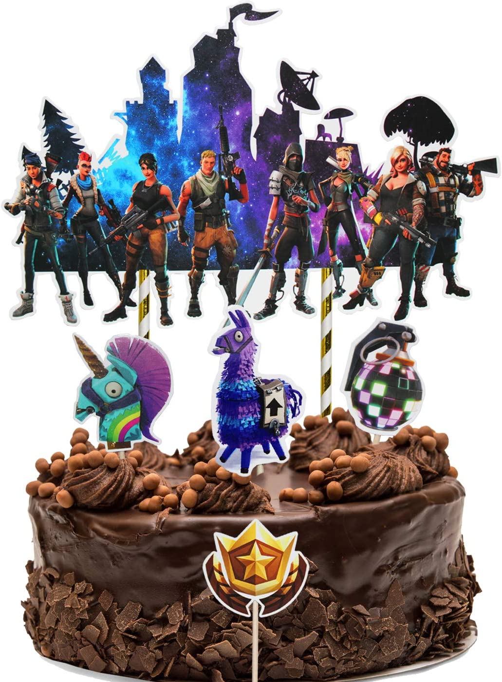 Video Game Birthday Party Supplies for Game Fans, 5Pcs DIY Cake Decorations Topper