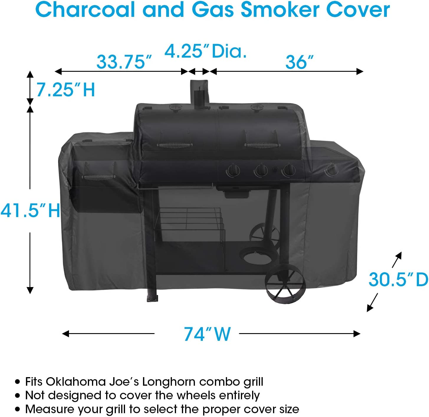 Heavy Duty Waterproof Barbecue Cover Black Fade and UV Resistant Unicook BBQ Cover for Oklahoma Joes Longhorn Combo Smoker Outdoor Charcoal//Gas//Smoker Grill Cover