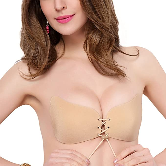 Sujetador Adhesivo,Pomisty Silicone Invisible Sujetador Push UP Bra con Gel Adhesivo y Ajustable String