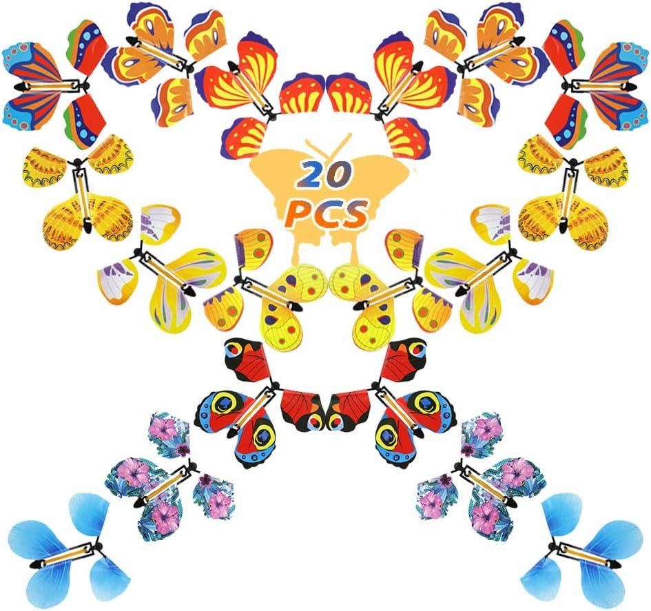 Joyibay 20 Piezas de Mariposas Mágicas Voladoras, Mariposas Mágicas para Niños de la Mosca Mariposas Naturales Mariposas de Hadas para el Cumpleaños Aniversario Tarjeta de Boda