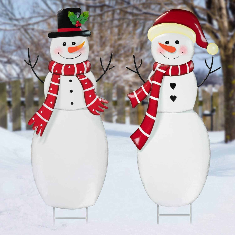 Rocinha Christmas Yard Signs Snowman Metal Outdoor Christmas Decorations Yard Snowman Stakes for Lawn Pathway Outdoor Snowman Christmas Decorations, 28 inches