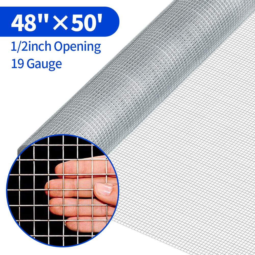 48 x 50 1/2Inch Hardware Cloth Galvanized Welded Cage Wire 19 Gauge Fence Mesh Roll Garden Plant Supports Poultry Netting Square Chicken Wire Snake Fencing Gopher Fence Racoons Rabbit Pen Gutter by Amagabeli Garden Home