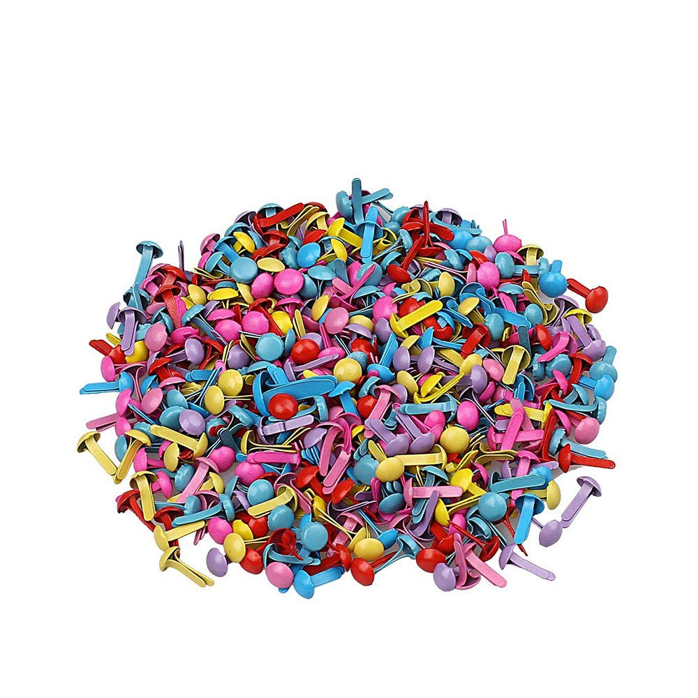 Xeminor 200pcs Mini Brads, Multicolor Mix Metal Round Brads for Paper Craft Stamping Scrapbooking DIY Tool
