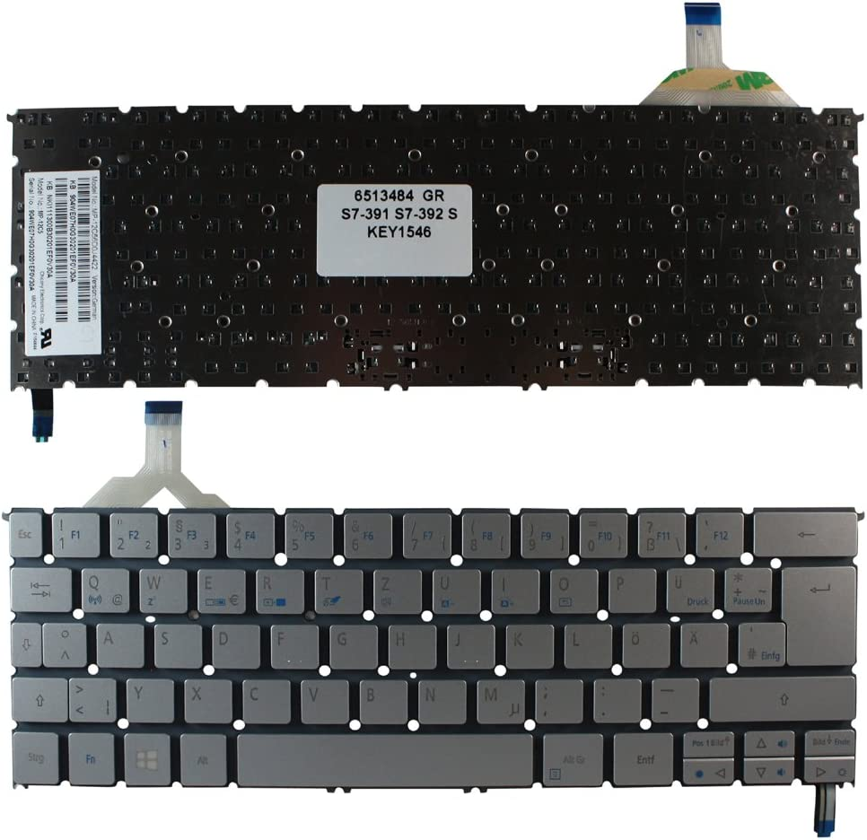Keyboards4Laptops German Layout Backlit Silver Windows 8 Keyboard for Acer Aspire S7-391-6818, Acer Aspire S7-391-6822, Acer Aspire S7-391-6859, Acer Aspire S7-391-73514, Acer Aspire S7-391-73514G