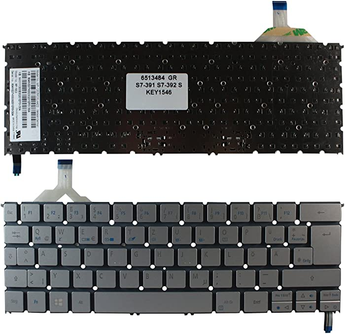 Keyboards4Laptops German Layout Backlit Silver Windows 8 Laptop Keyboard for Acer Aspire S7-391-9492, Acer Aspire S7-391-9864, Acer Aspire S7-391-9886, Acer Aspire S7-392, Acer Aspire S7-392-5401
