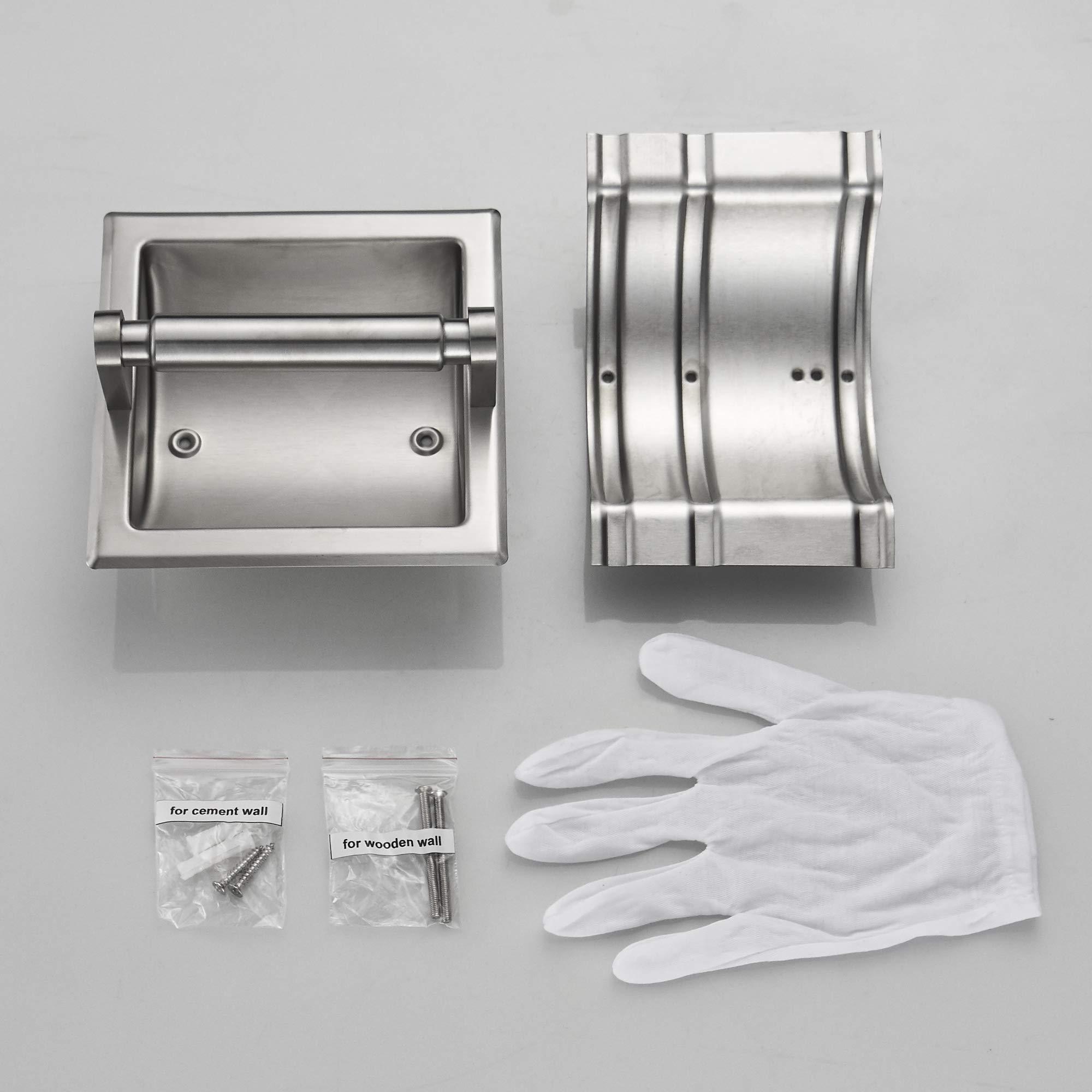 JunSun Brushed Nickel Recessed Toilet Paper Holder Wall Toilet Paper Holder Recessed Toilet Tissue Holder Stainless Steel Toilet Paper Holder Rear Mounting Bracket Included by JunSun (Image #9)