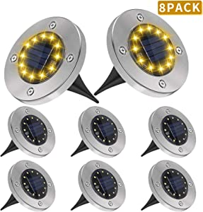 Solar Ground Lights, 12 LED Outdoor Solar Landscape In-Ground Light Waterproof Solar Bright Disk Lighting for Sideway Pathway Garden Patio Yard Pack of 8
