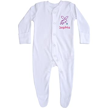 2dc8a0373 Baby Personalised Jumping Bunny Sleepsuit (0-3 Months