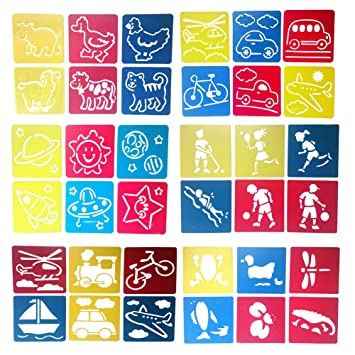 Mike Home 36 Piece Assorted Color Drawing Painting Stencils Templates For Kids A