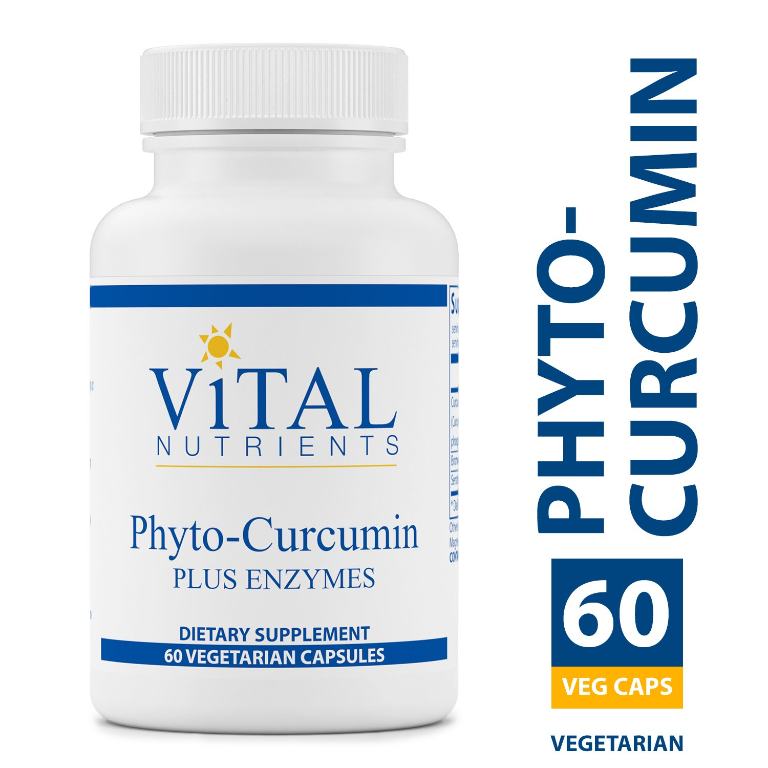 Vital Nutrients – Phyto-Curcumin Plus Enzymes – Helps Maintain and Support Healthy Inflammatory Balance – 60 Vegetarian Capsules per Bottle