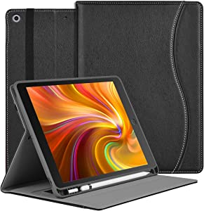 HFcoupe 10.2 Case for iPad 8th Generation 2020 / iPad 7th Gen 2019, Premium Multiple Viewing Angles Stand Leather Folio Protective Cover with Apple Pencil Holder Auto Sleep/Wake -Black