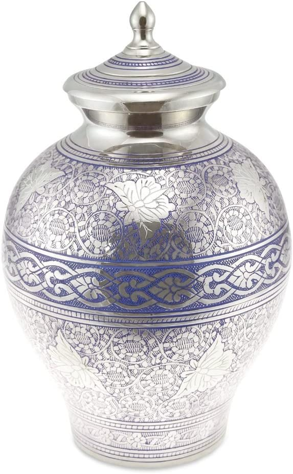 Cherished Urns Poldhu Blue Engraved Flutter Adult Cremation Urn for Ashes