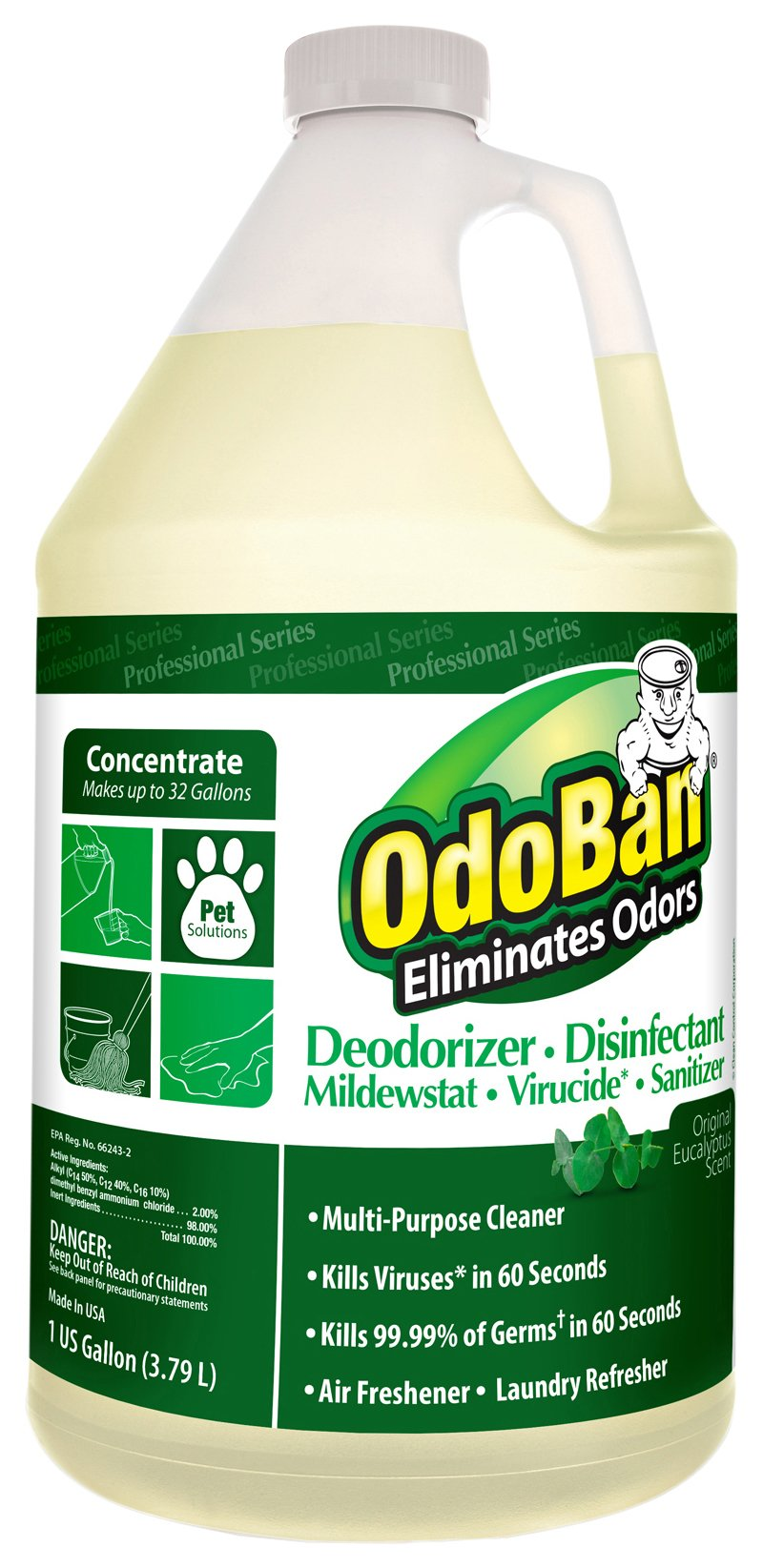 OdoBan Concentrate Disinfectant Laundry and Air Freshener Eucalyptus Scent 4 Gallons by OdoBan (Image #2)