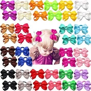 """Set of 2 toddler pigtail 1.5/"""" bow hair bobbles neon pink glitter"""