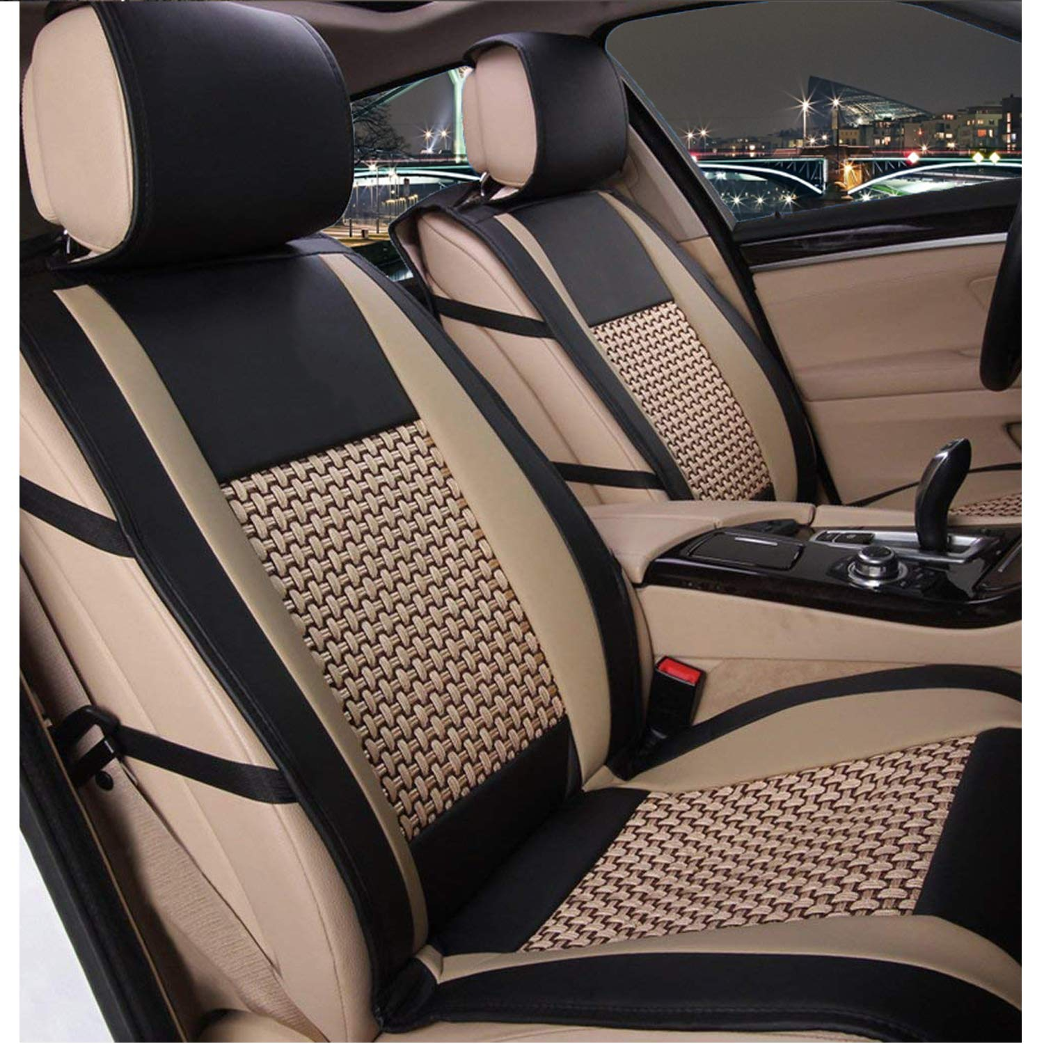 10 PCS Universal PU Leather Front and Rear Car Seat Cushion Cover Needlework Ice Silk Seat Pad Protectors with Health Care Pillows for Year-Round Use Airbag Compatible