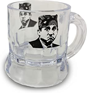 MunnyGrubbers - Prison Mike Mug Shots 6 pack - Can your friends guess the pun? - The Office Merchandise - Funny 1 oz Beer Mug Shot Glasses for Men and Women - Michael Scott Shot Glass