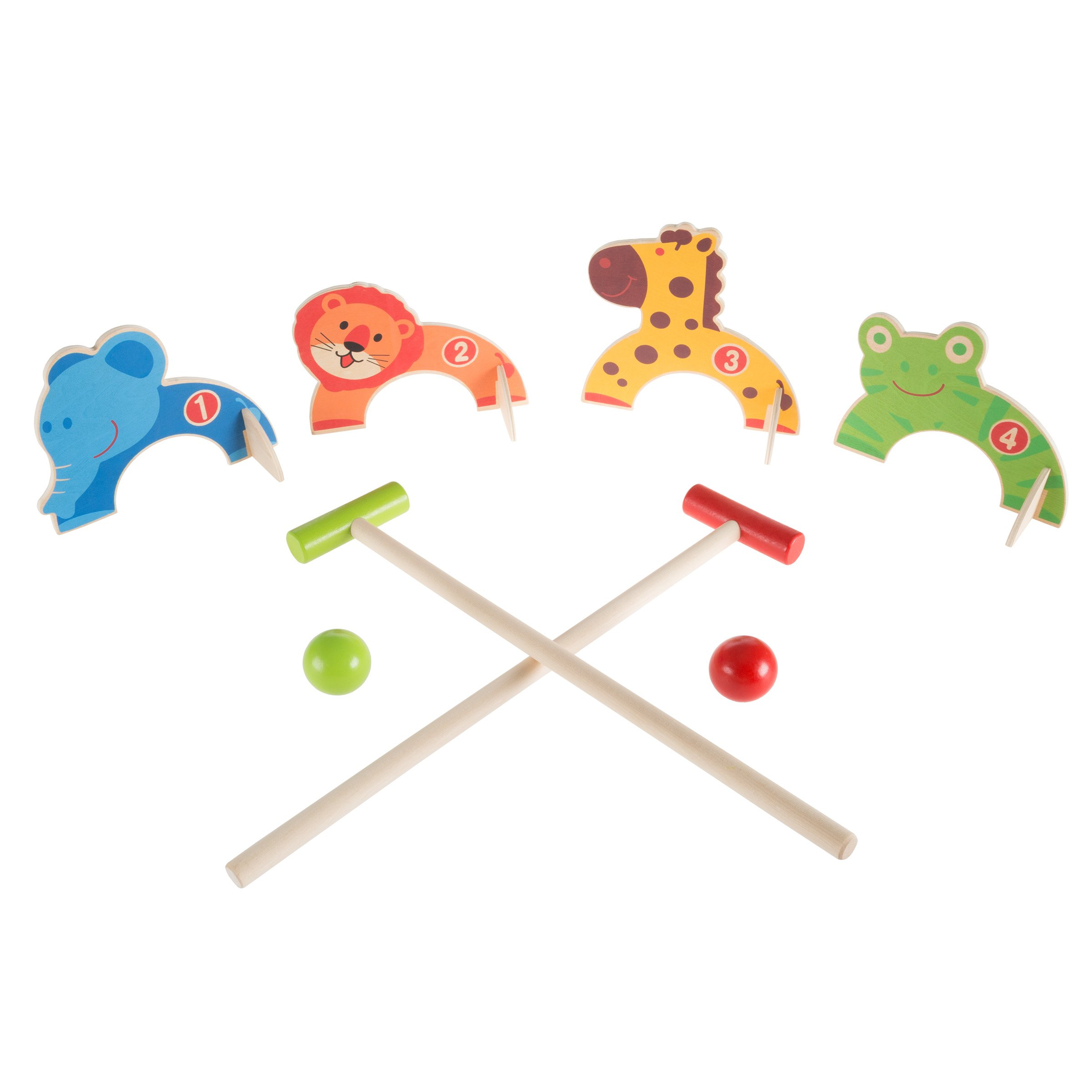 Hey!Play! Kids Animal Croquet Set- Mini Croquet Playset with 4 Wooden Zoo Animal Design Wickets and 2 Mallets-Fun Classic Game for Boys and Girls by Hey!Play!
