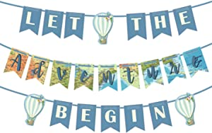 Let the Adventure Begin Banner Adventure Awaits Bon Voyage Map Banner for Travel Themed Party Decorations Supplies Pre Strung & Ready to Hang