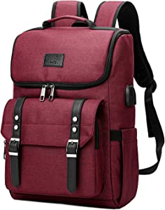 Vintage Backpack Travel Laptop Backpack with usb Charging Port for Women & Men School College Students Backpack Fits 15.6 Inch Laptop Red