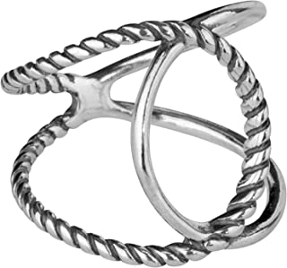 product image for Carolyn Pollack Sterling Silver Size 5 to 10 Crossover Ring Choice of 3 Colors